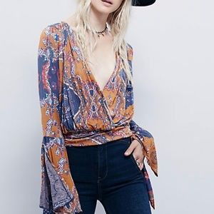 Free People Fiona Bell Sleeve Patterned Wrap Top